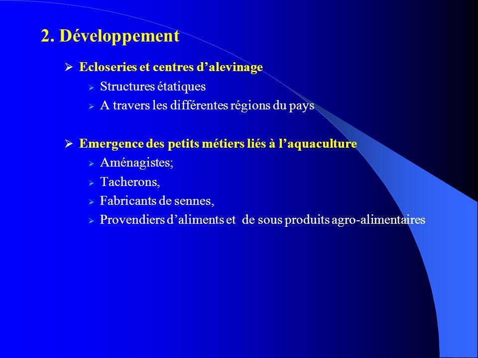 2. Développement Ecloseries et centres dalevinage Structures étatiques A travers les différentes régions du pays Emergence des petits métiers liés à l