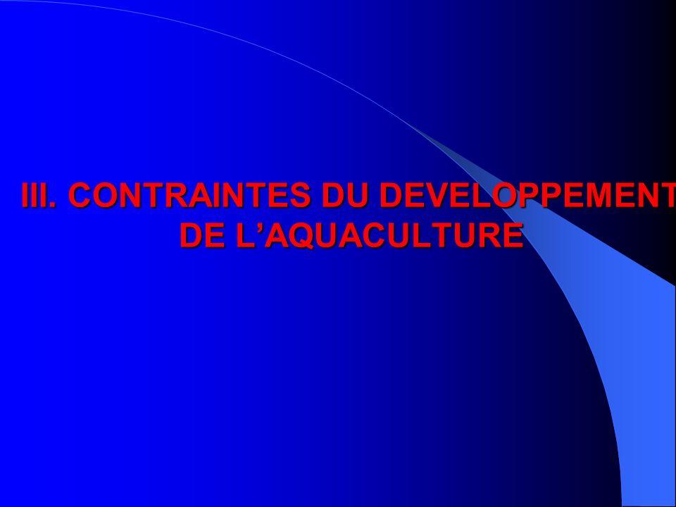 III. CONTRAINTES DU DEVELOPPEMENT DE LAQUACULTURE