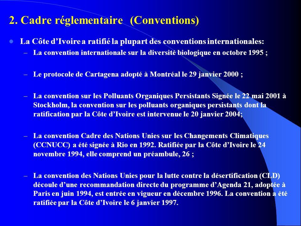 2. Cadre réglementaire (Conventions) La Côte dIvoire a ratifié la plupart des conventions internationales: – La convention internationale sur la diver