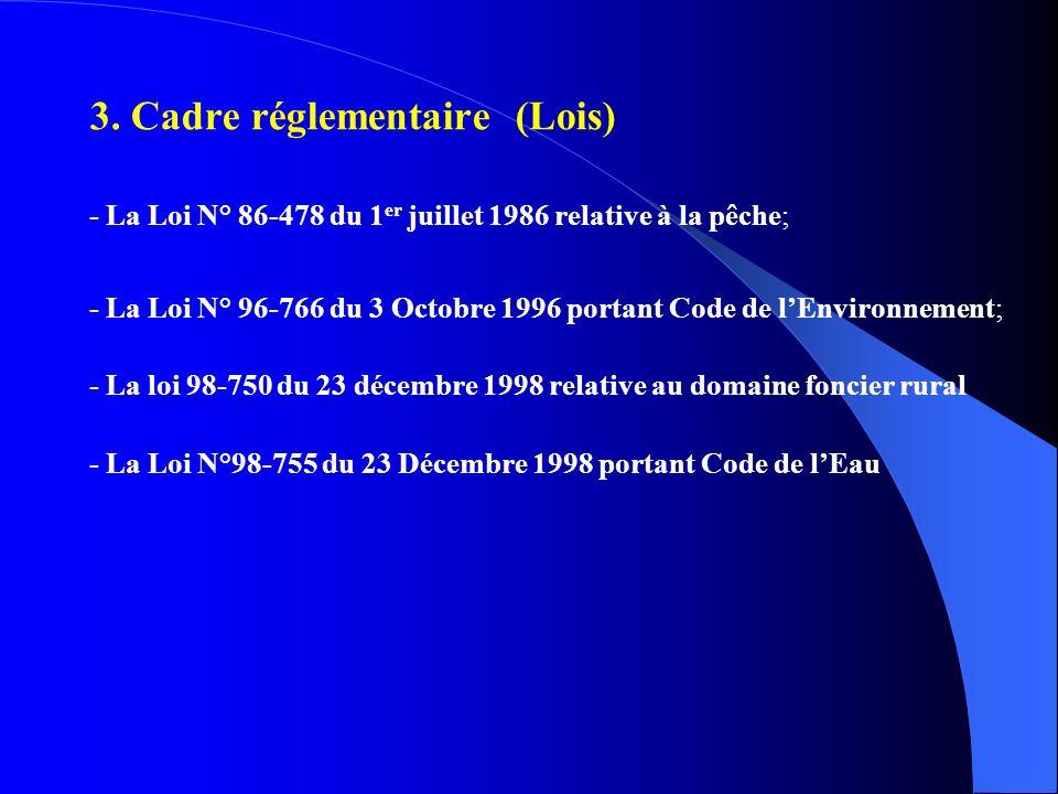 3. Cadre réglementaire (Lois) - La Loi N° 86-478 du 1 er juillet 1986 relative à la pêche; - La Loi N° 96-766 du 3 Octobre 1996 portant Code de lEnvir