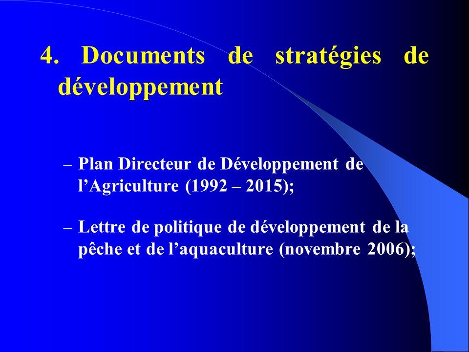 4. Documents de stratégies de développement – Plan Directeur de Développement de lAgriculture (1992 – 2015); – Lettre de politique de développement de