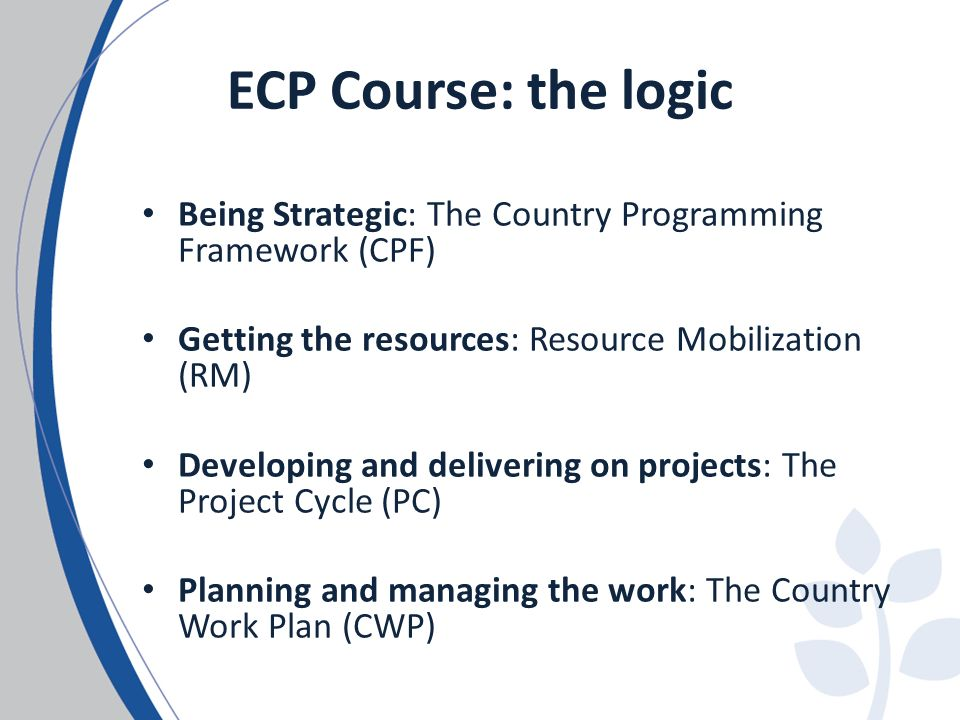 ECP Course: the logic Being Strategic: The Country Programming Framework (CPF) Getting the resources: Resource Mobilization (RM) Developing and delive