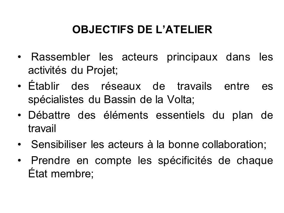 OBJECTIFS DE LATELIER Rassembler les acteurs principaux dans les activités du Projet; Établir des réseaux de travails entre es spécialistes du Bassin