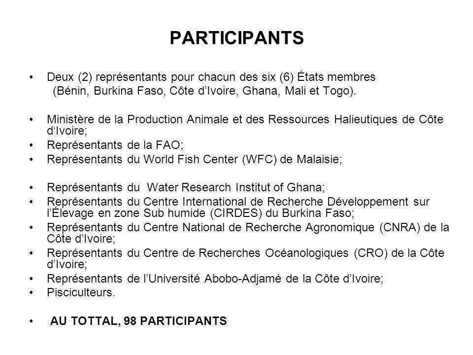 PARTICIPANTS Deux (2) représentants pour chacun des six (6) États membres (Bénin, Burkina Faso, Côte dIvoire, Ghana, Mali et Togo). Ministère de la Pr