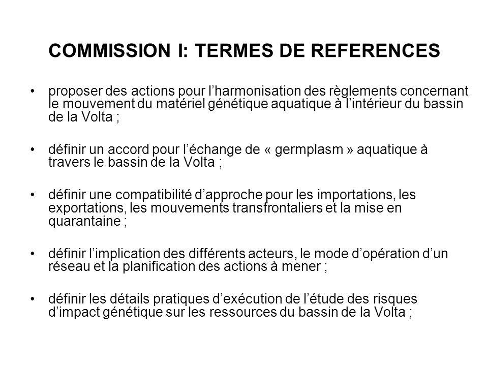 COMMISSION I: TERMES DE REFERENCES proposer des actions pour lharmonisation des règlements concernant le mouvement du matériel génétique aquatique à l