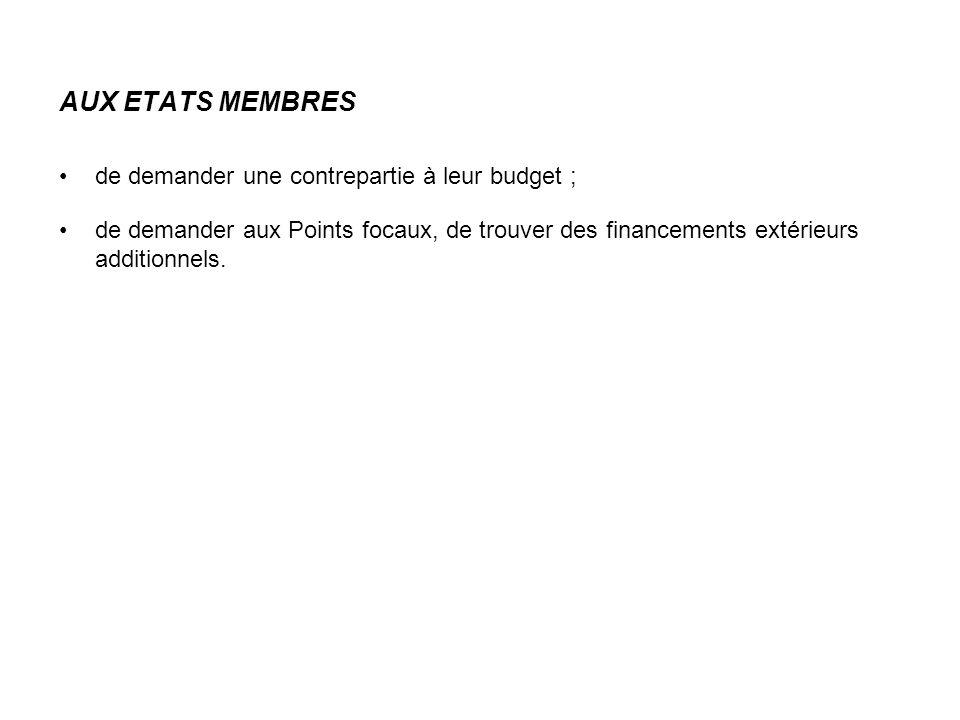 AUX ETATS MEMBRES de demander une contrepartie à leur budget ; de demander aux Points focaux, de trouver des financements extérieurs additionnels.