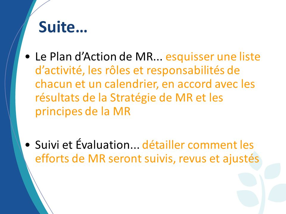 Achieving Le Plan dAction de MR...