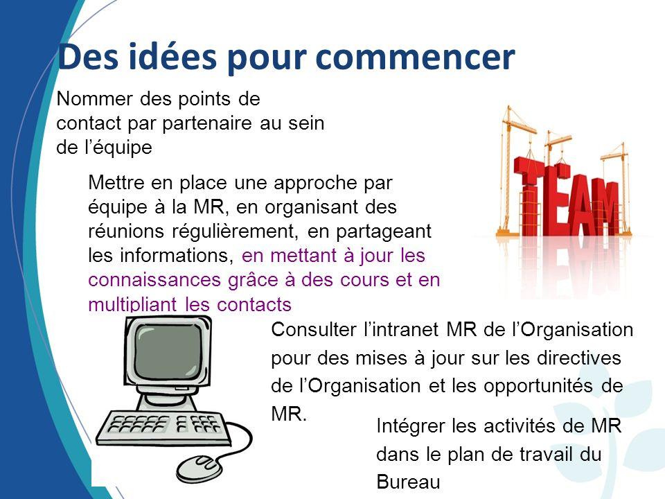 Consulter lintranet MR de lOrganisation pour des mises à jour sur les directives de lOrganisation et les opportunités de MR.