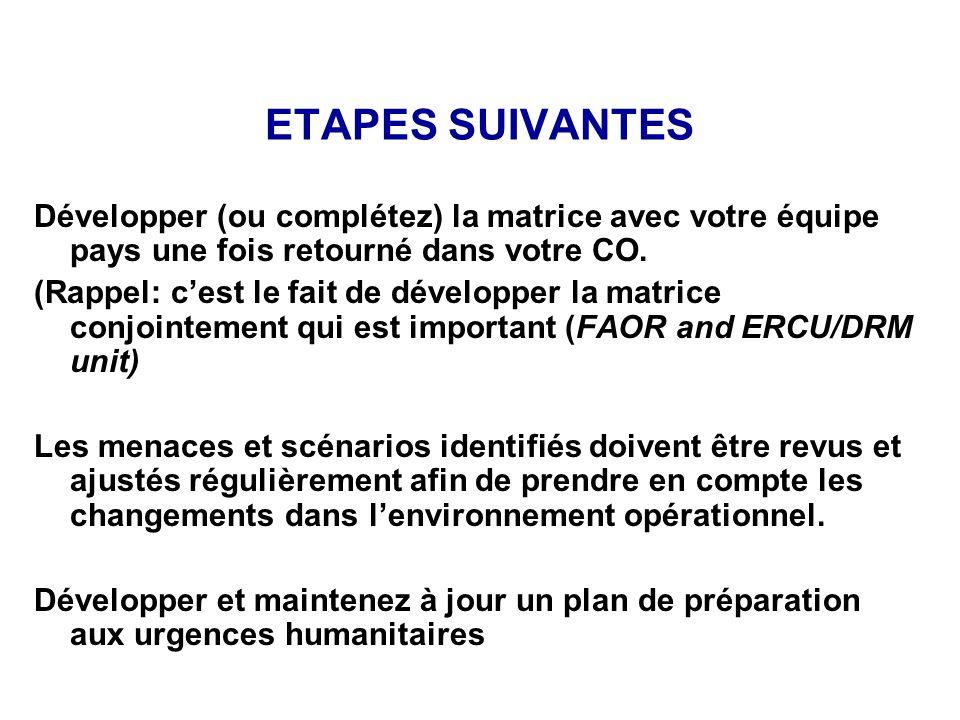 ETAPES SUIVANTES Développer (ou complétez) la matrice avec votre équipe pays une fois retourné dans votre CO. (Rappel: cest le fait de développer la m