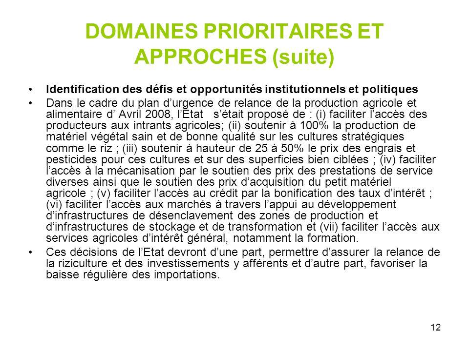 12 DOMAINES PRIORITAIRES ET APPROCHES (suite) Identification des défis et opportunités institutionnels et politiques Dans le cadre du plan durgence de