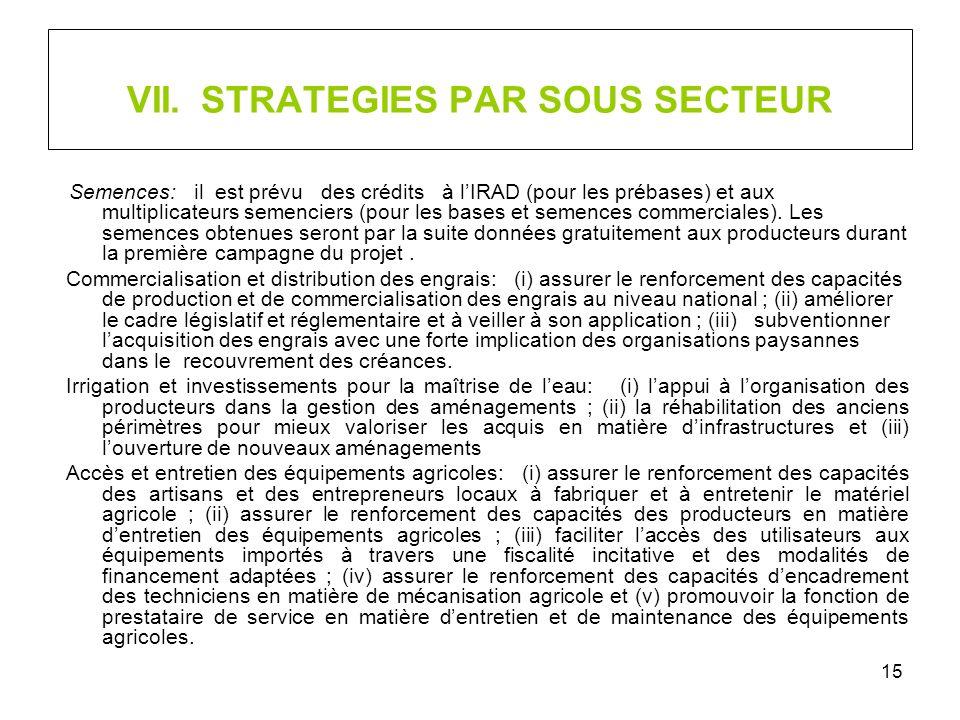 15 VII. STRATEGIES PAR SOUS SECTEUR Semences: il est prévu des crédits à lIRAD (pour les prébases) et aux multiplicateurs semenciers (pour les bases e