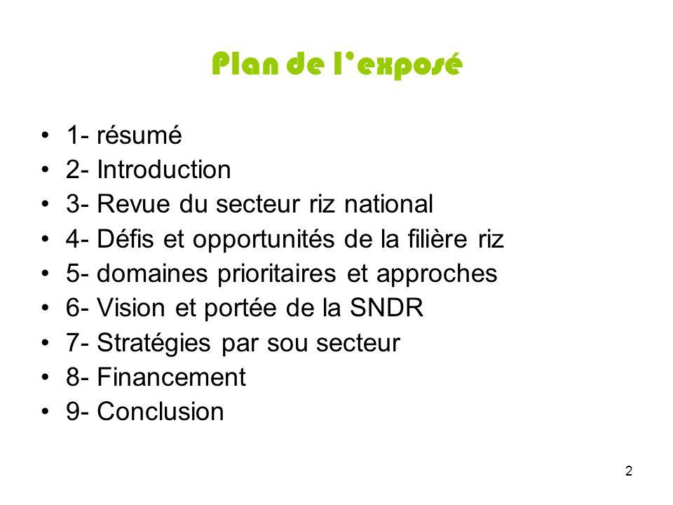 2 Plan de lexposé 1- résumé 2- Introduction 3- Revue du secteur riz national 4- Défis et opportunités de la filière riz 5- domaines prioritaires et ap