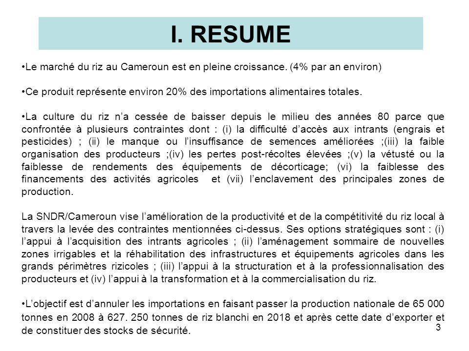 3 I. RESUME Le marché du riz au Cameroun est en pleine croissance. (4% par an environ) Ce produit représente environ 20% des importations alimentaires