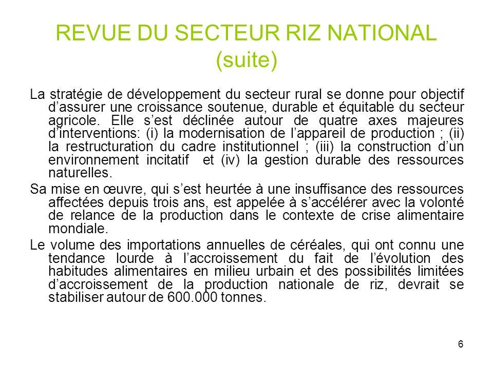 6 REVUE DU SECTEUR RIZ NATIONAL (suite) La stratégie de développement du secteur rural se donne pour objectif dassurer une croissance soutenue, durabl