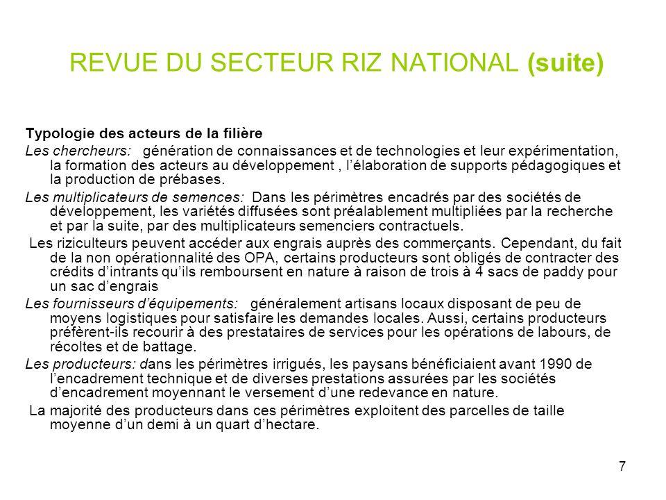 7 REVUE DU SECTEUR RIZ NATIONAL (suite) Typologie des acteurs de la filière Les chercheurs: génération de connaissances et de technologies et leur exp