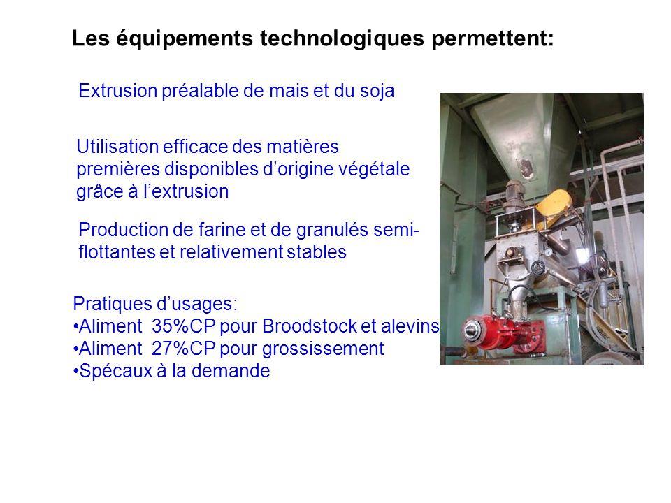 Extrusion préalable de mais et du soja Les équipements technologiques permettent: Utilisation efficace des matières premières disponibles dorigine vég