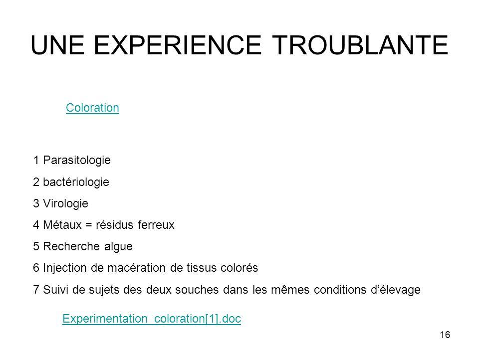 16 UNE EXPERIENCE TROUBLANTE 1 Parasitologie 2 bactériologie 3 Virologie 4 Métaux = résidus ferreux 5 Recherche algue 6 Injection de macération de tis