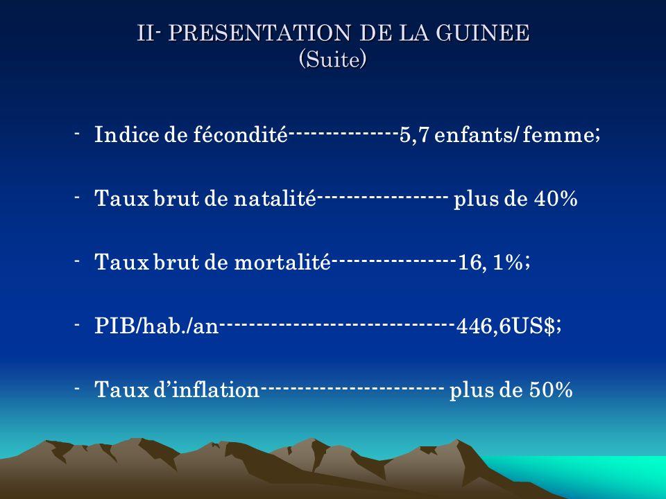 II- PRESENTATION DE LA GUINEE (Suite) -Indice de fécondité---------------5,7 enfants/ femme; -Taux brut de natalité------------------ plus de 40% -Tau