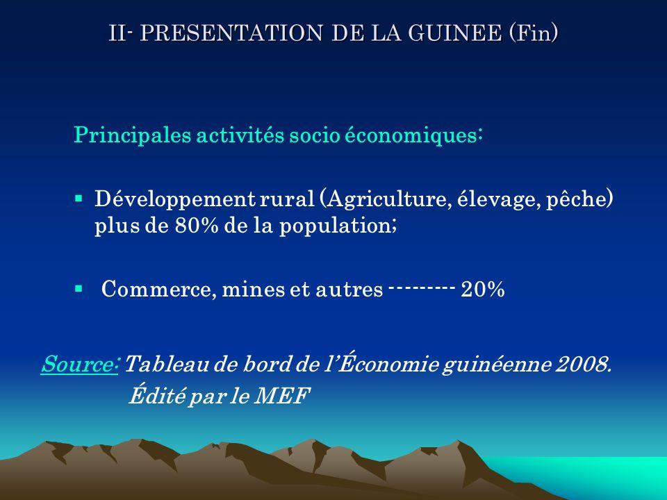II- PRESENTATION DE LA GUINEE (Fin) Principales activités socio économiques: Développement rural (Agriculture, élevage, pêche) plus de 80% de la popul