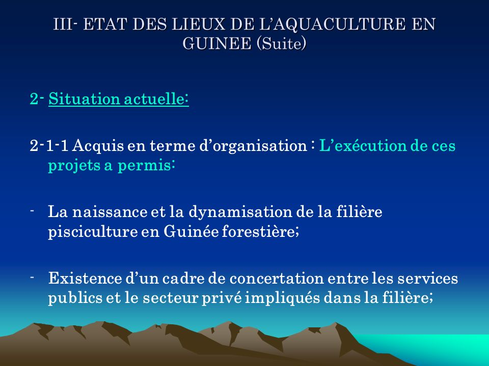 III- ETAT DES LIEUX DE LAQUACULTURE EN GUINEE (Suite) 2- Situation actuelle: 2-1-1 Acquis en terme dorganisation : Lexécution de ces projets a permis: