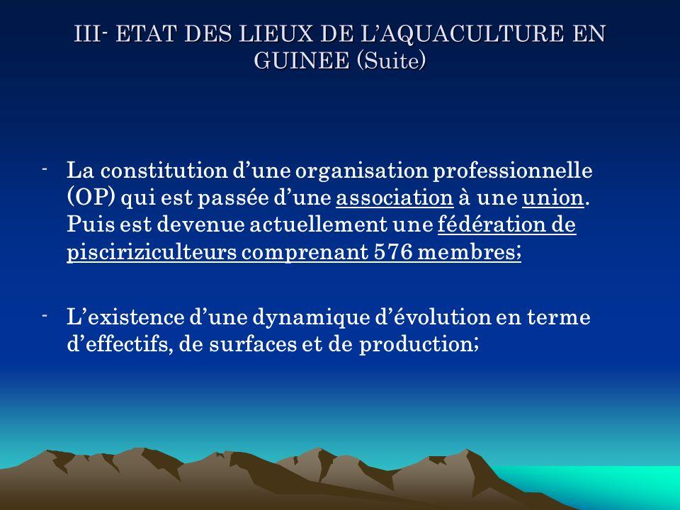 III- ETAT DES LIEUX DE LAQUACULTURE EN GUINEE (Suite) -La constitution dune organisation professionnelle (OP) qui est passée dune association à une un
