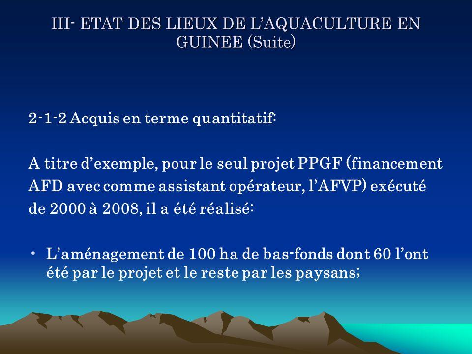III- ETAT DES LIEUX DE LAQUACULTURE EN GUINEE (Suite) 2-1-2 Acquis en terme quantitatif: A titre dexemple, pour le seul projet PPGF (financement AFD a