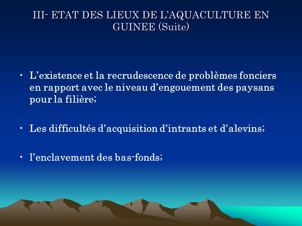 III- ETAT DES LIEUX DE LAQUACULTURE EN GUINEE (Suite) Lexistence et la recrudescence de problèmes fonciers en rapport avec le niveau dengouement des p