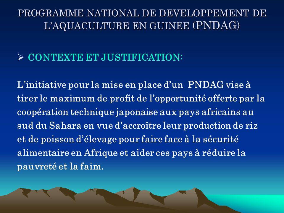 PROGRAMME NATIONAL DE DEVELOPPEMENT DE LAQUACULTURE EN GUINEE ( PNDAG ) CONTEXTE ET JUSTIFICATION: Linitiative pour la mise en place dun PNDAG vise à