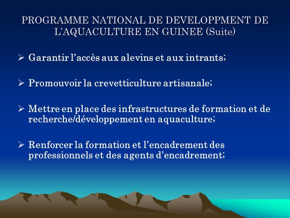 PROGRAMME NATIONAL DE DEVELOPPMENT DE LAQUACULTURE EN GUINEE (Suite) Garantir laccès aux alevins et aux intrants; Promouvoir la crevetticulture artisa