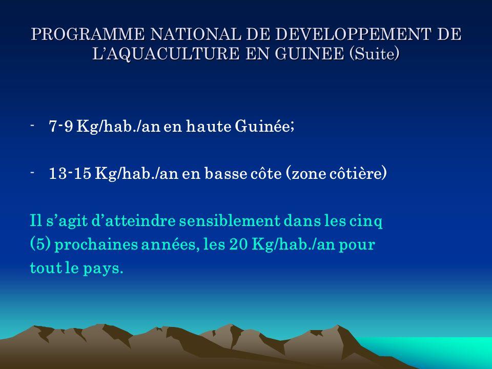PROGRAMME NATIONAL DE DEVELOPPEMENT DE LAQUACULTURE EN GUINEE (Suite) -7-9 Kg/hab./an en haute Guinée; -13-15 Kg/hab./an en basse côte (zone côtière)