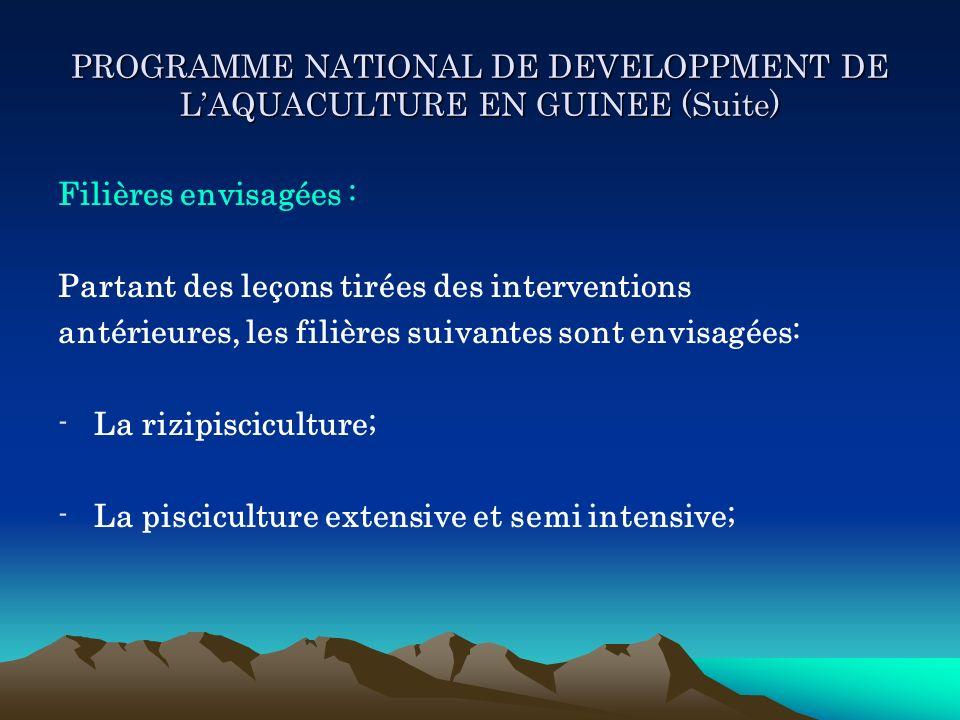 PROGRAMME NATIONAL DE DEVELOPPMENT DE LAQUACULTURE EN GUINEE (Suite) Filières envisagées : Partant des leçons tirées des interventions antérieures, le