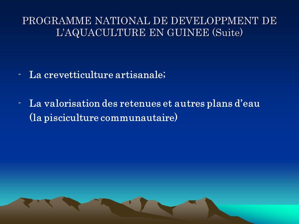 PROGRAMME NATIONAL DE DEVELOPPMENT DE LAQUACULTURE EN GUINEE (Suite) -La crevetticulture artisanale; -La valorisation des retenues et autres plans dea