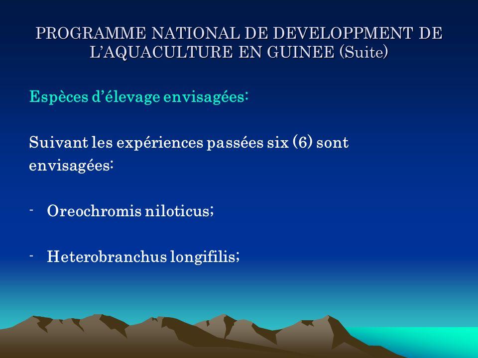 PROGRAMME NATIONAL DE DEVELOPPMENT DE LAQUACULTURE EN GUINEE (Suite) Espèces délevage envisagées: Suivant les expériences passées six (6) sont envisag