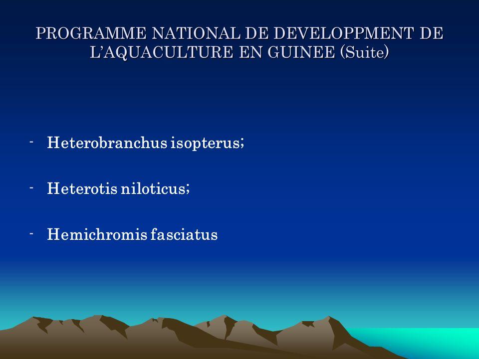 PROGRAMME NATIONAL DE DEVELOPPMENT DE LAQUACULTURE EN GUINEE (Suite) -Heterobranchus isopterus; -Heterotis niloticus; -Hemichromis fasciatus