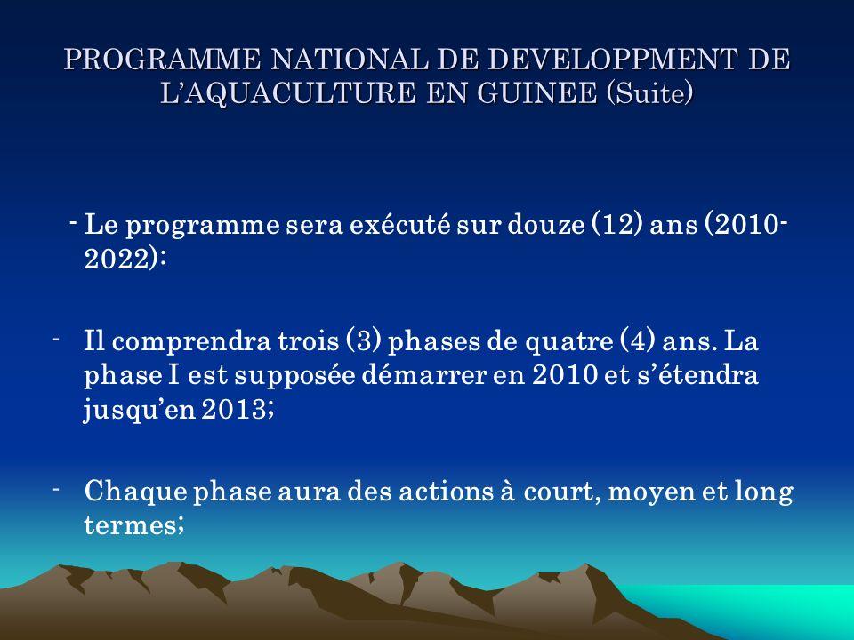 PROGRAMME NATIONAL DE DEVELOPPMENT DE LAQUACULTURE EN GUINEE (Suite) - Le programme sera exécuté sur douze (12) ans (2010- 2022): -Il comprendra trois