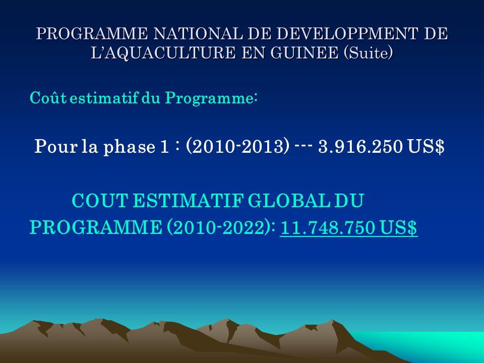 PROGRAMME NATIONAL DE DEVELOPPMENT DE LAQUACULTURE EN GUINEE (Suite) Coût estimatif du Programme: Pour la phase 1 : (2010-2013) --- 3.916.250 US$ COUT