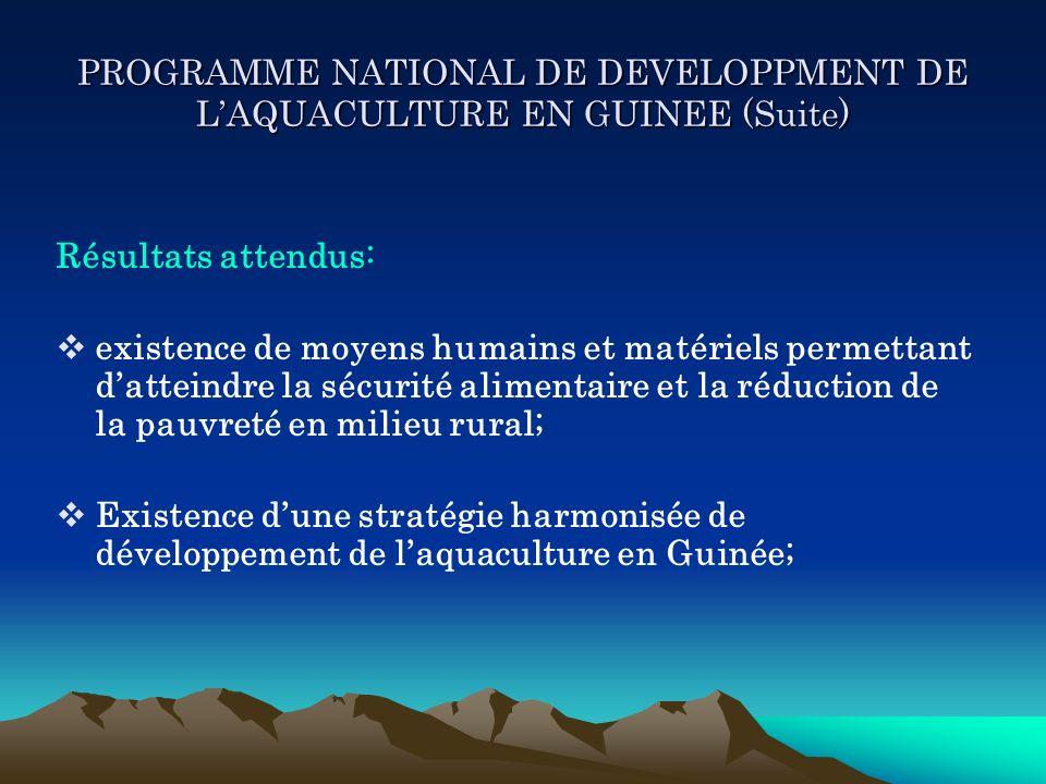 PROGRAMME NATIONAL DE DEVELOPPMENT DE LAQUACULTURE EN GUINEE (Suite) Résultats attendus: existence de moyens humains et matériels permettant datteindr