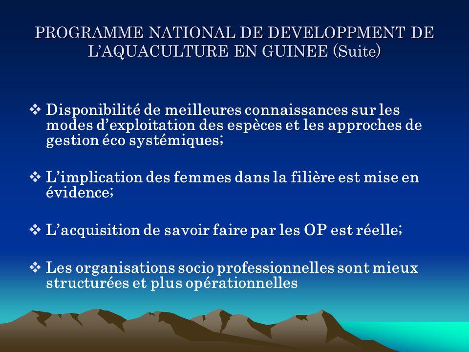 PROGRAMME NATIONAL DE DEVELOPPMENT DE LAQUACULTURE EN GUINEE (Suite) Disponibilité de meilleures connaissances sur les modes dexploitation des espèces