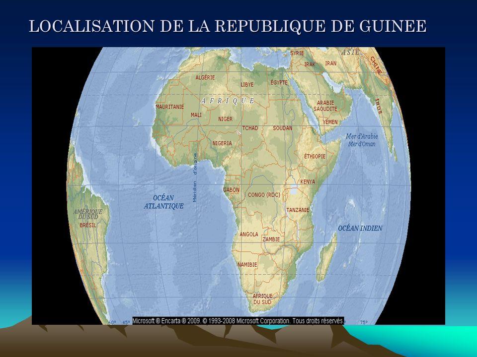 LOCALISATION DE LA REPUBLIQUE DE GUINEE