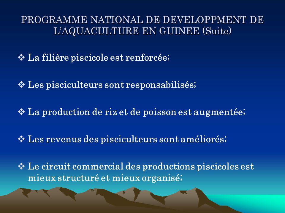 PROGRAMME NATIONAL DE DEVELOPPMENT DE LAQUACULTURE EN GUINEE (Suite) La filière piscicole est renforcée; Les pisciculteurs sont responsabilisés; La pr