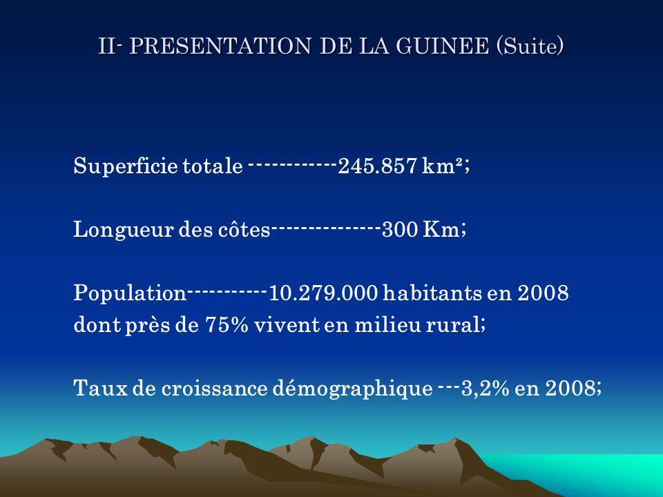 II- PRESENTATION DE LA GUINEE (Suite) Superficie totale ------------245.857 km²; Longueur des côtes---------------300 Km; Population-----------10.279.