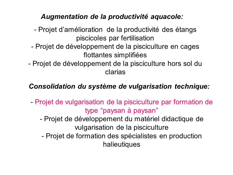 - Projet de vulgarisation de la pisciculture par formation de type paysan à paysan - Projet de développement du matériel didactique de vulgarisation d
