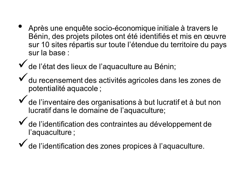 Après une enquête socio-économique initiale à travers le Bénin, des projets pilotes ont été identifiés et mis en œuvre sur 10 sites répartis sur toute