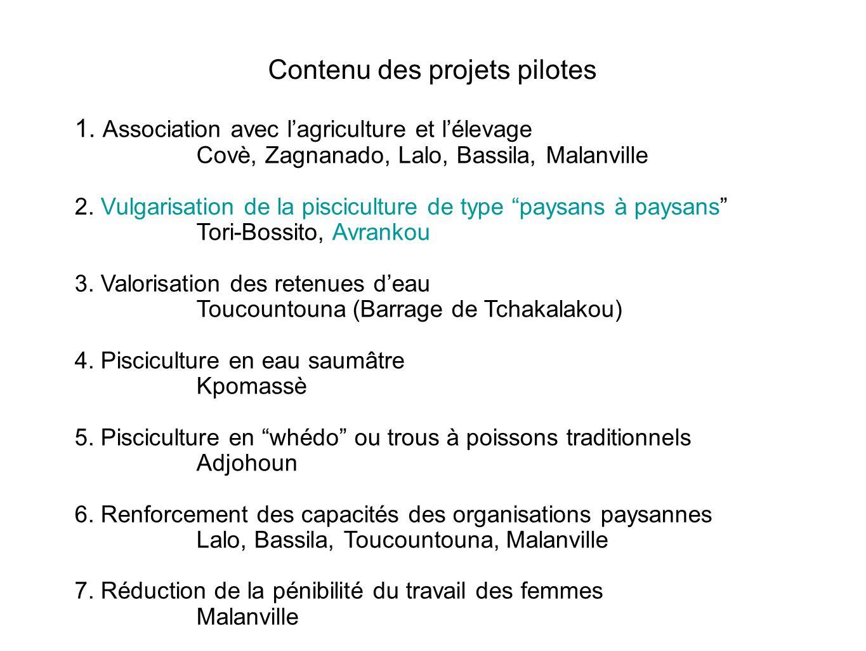 Contenu des projets pilotes 1. Association avec lagriculture et lélevage Covè, Zagnanado, Lalo, Bassila, Malanville 2. Vulgarisation de la piscicultur