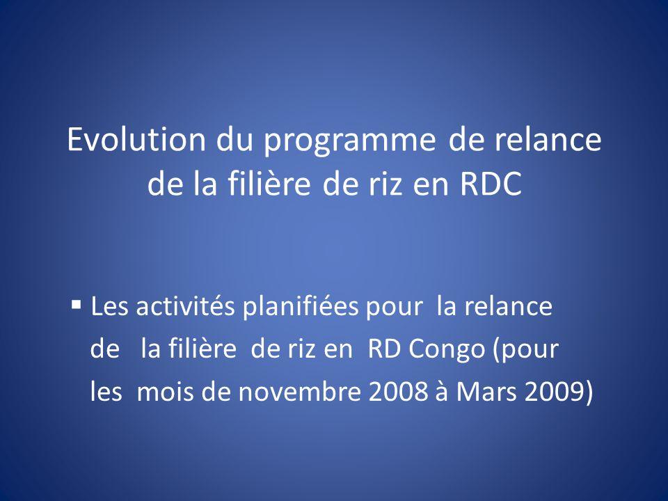 Evolution du programme de relance de la filière de riz en RDC Les activités planifiées pour la relance de la filière de riz en RD Congo (pour les mois