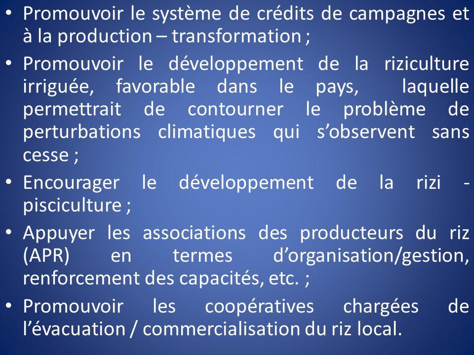 Promouvoir le système de crédits de campagnes et à la production – transformation ; Promouvoir le développement de la riziculture irriguée, favorable