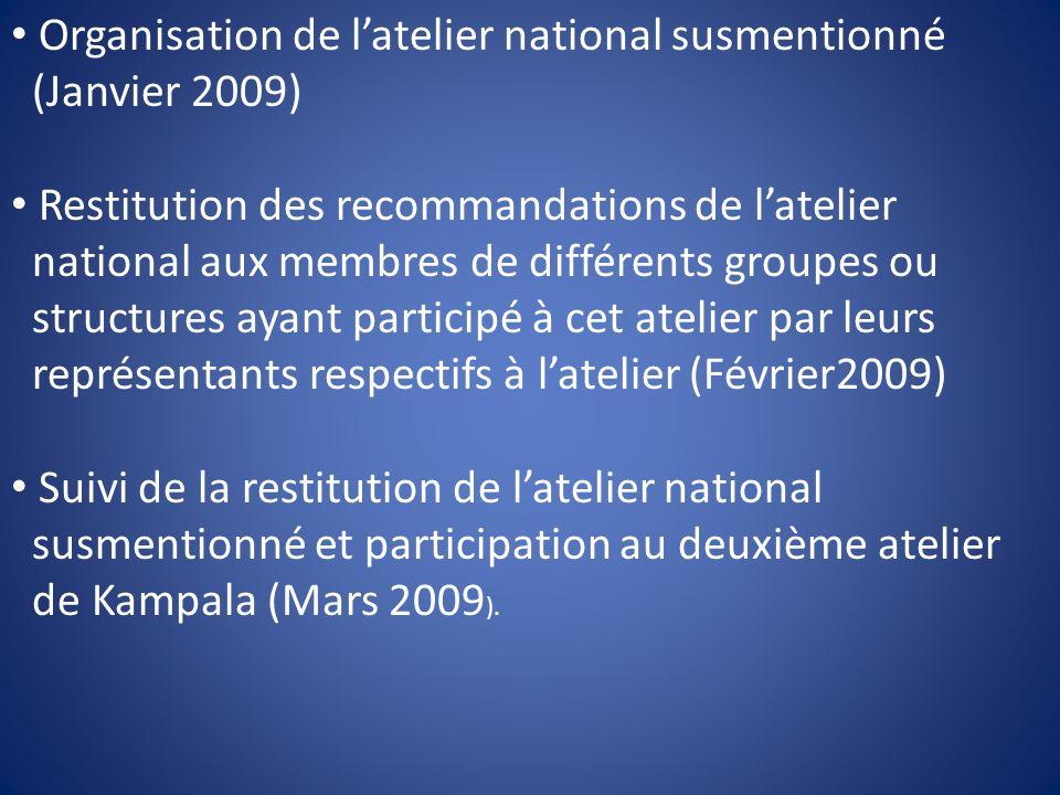 Organisation de latelier national susmentionné (Janvier 2009) Restitution des recommandations de latelier national aux membres de différents groupes o