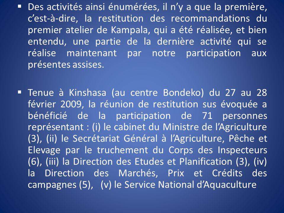(20), (vi) la FAO (1), (vii) le Programme National Riz (15 dont 5 encadreurs, 1 délégué de la Mission Agricole Chinoise, 3 délégués dONG/riziers/commerçants de riz local, 6 délégués des associations de producteurs du riz du Pool Malebo / Kinshasa), (viii) lintérieur du pays (13 dont 5 délégués de la province du Bas-Congo, 7 du Bandundu et 1 du Kasaï Occidental), (ix) les participants au premier atelier de Kampala (5).