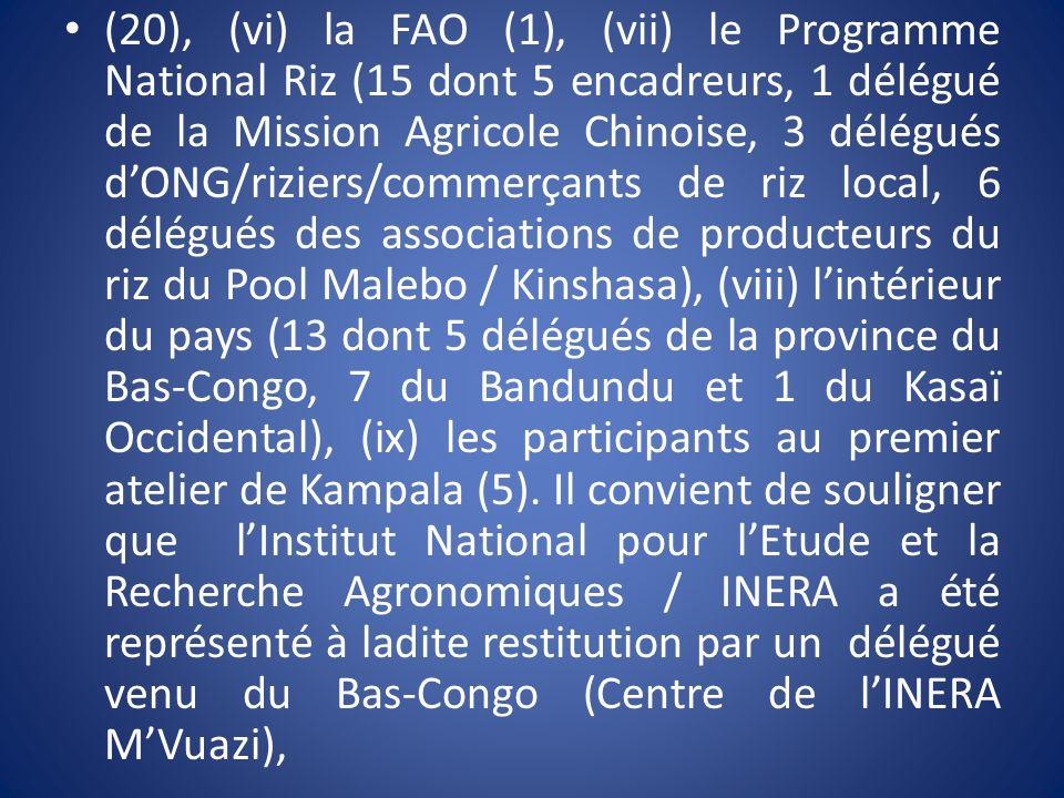 (20), (vi) la FAO (1), (vii) le Programme National Riz (15 dont 5 encadreurs, 1 délégué de la Mission Agricole Chinoise, 3 délégués dONG/riziers/comme