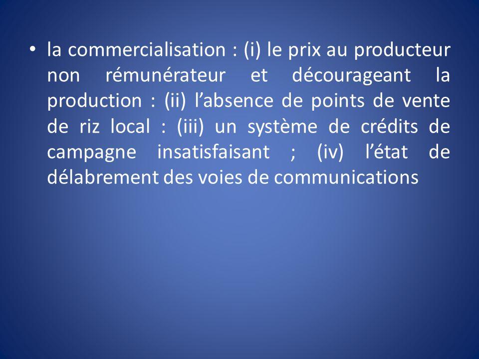 la commercialisation : (i) le prix au producteur non rémunérateur et décourageant la production : (ii) labsence de points de vente de riz local : (iii